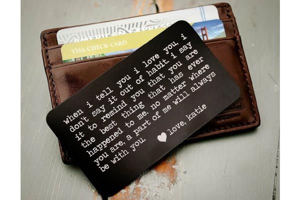 14 Meaningful Gifts For Him That Will Make Him Secretly Cry Personalized Wallet Card Clic Personalized Wallet Card Diy Gifts For Him Surprise Gifts For Him