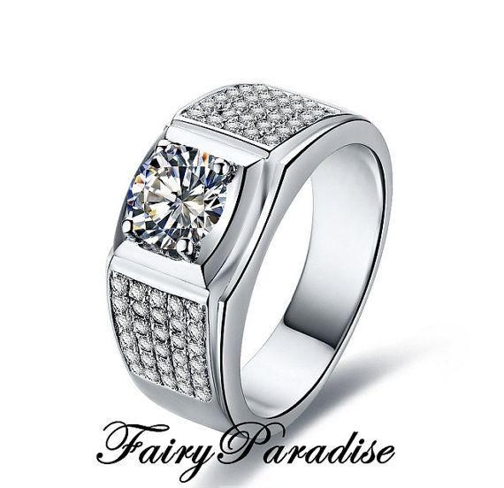 Mens Wedding Ring 1 Ct Center Man Made Diamond 5 Rows Pave Rings For Men Gold Diamond Rings Men Diamond Ring