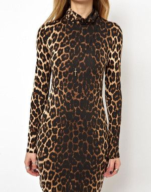 f3e5ccb11c89 Asos Mini Bodycon Dress in Leopard Print with Polo Neck | Lyst ...