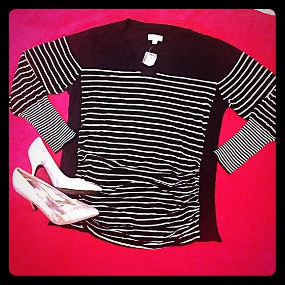 "Avenue PLUS SIZE V-neck top! NWT Lightweight V- Neck shirt/sweater. Size 18/20. Black and white stripe, solid black panels on the sides to give the illusion of a slimmer torso. This garment is quite stretchy. It also has INCREDIBLY AWESOME ruching in the front. FIGURE FLATTERING!!! 80% rayon 20% nylon. When laid flat, it measures about 23"" from armpit to armpit. About 29"" from top of shoulder to hem. NO TRADES Avenue Tops"
