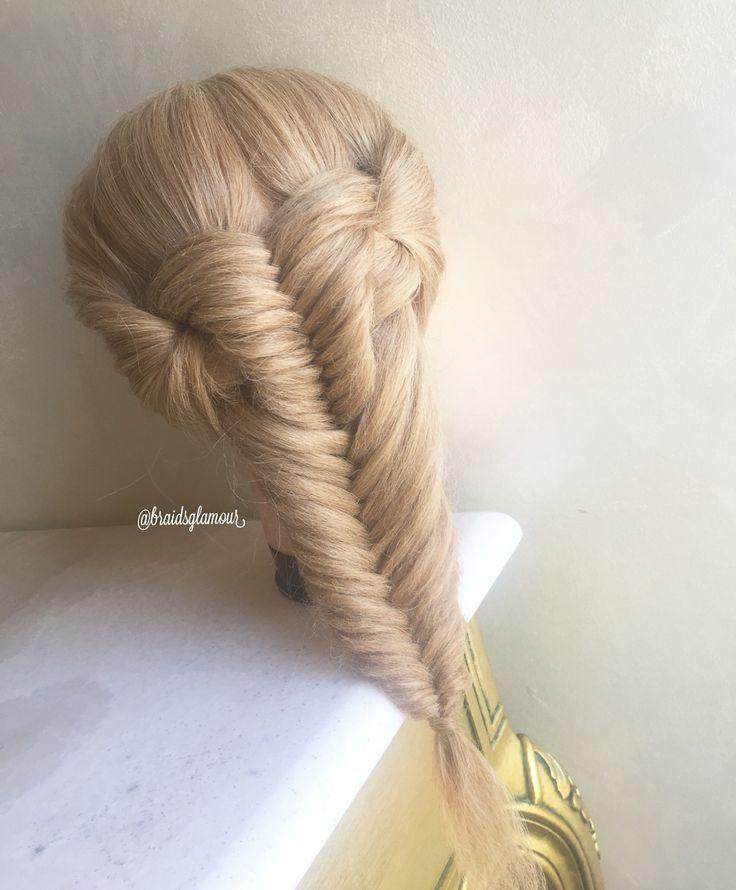 Knotted fishtail braid …   Braided hairstyles, Long hair styles, Hair designs
