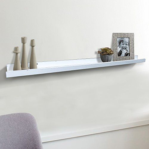 Modern White Floating Ledge For Photos Pictures And Frames 45 25 Inch Long Ikea Http Www Amazon Floating Shelves Long Floating Shelves Wood Floating Shelves