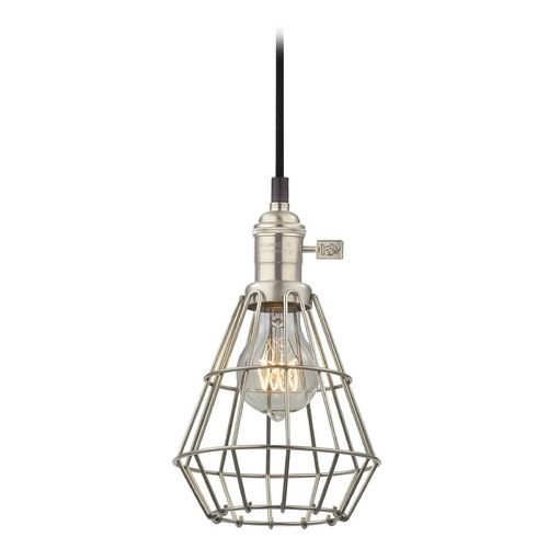 Retro Hoyt Satin Nickel Mini Pendant Light With Cage Ca1 09 Cage1 09 Destination Lig Mini Pendant Lights Pendant Light Fixtures Decorative Pendant Lighting