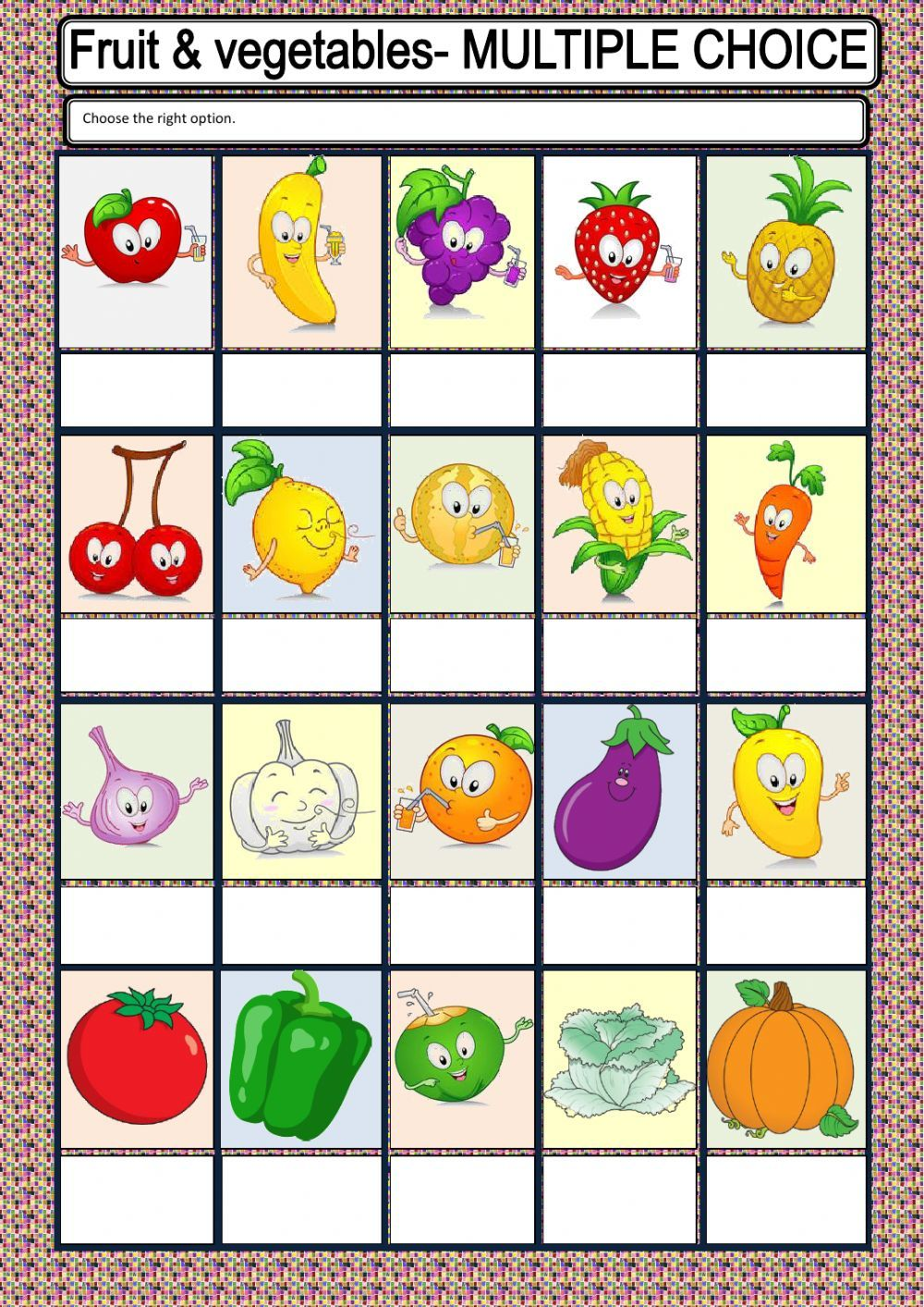 Fruit Or Vegetable Interactive Worksheet Fruits And Vegetables Preschool Activities English As A Second Language Esl [ 1413 x 1000 Pixel ]