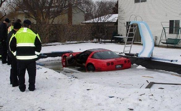 C4 Corvette Hits Patch Of Ice Lands In Pool Corvette Car Compare Car Insurance