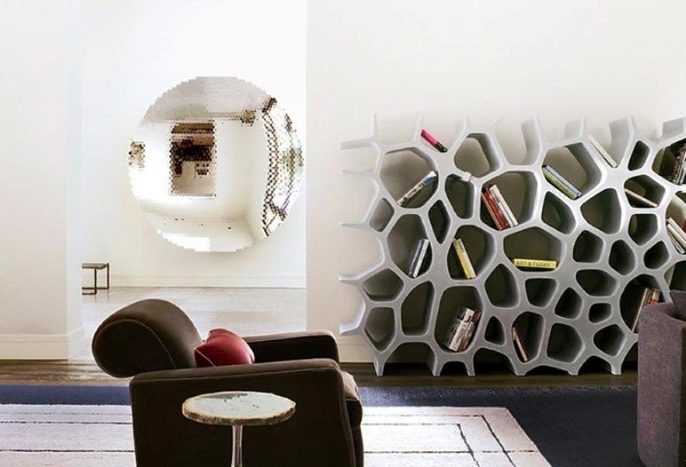 Round Wall Mirror In Futuristic Interior Design Plus Decorative Bookshelves Idea And Black Couch