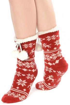 Totes Toasties Luxury Nordic Style Slipper Socks With Pom Poms ...