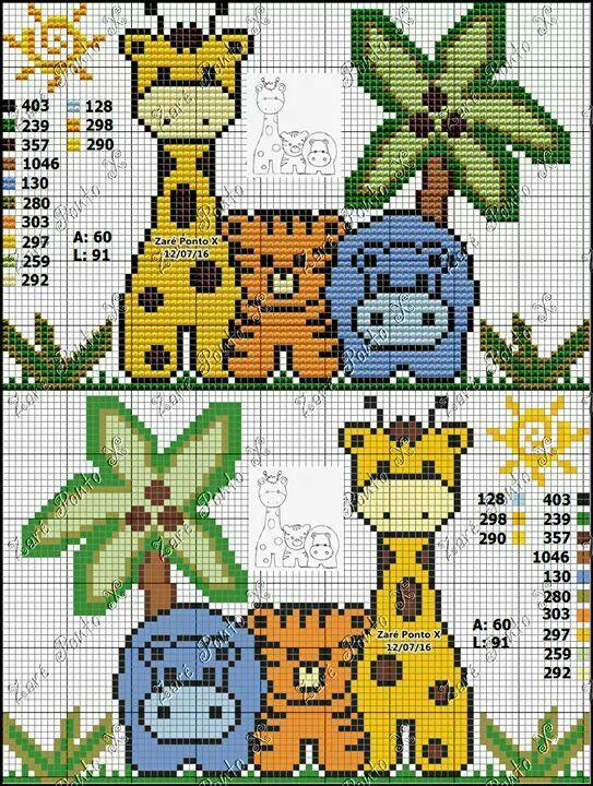 Jungle Animals Ponto Cruz Infantil Ponto Cruz Desenhos Ponto Cruz