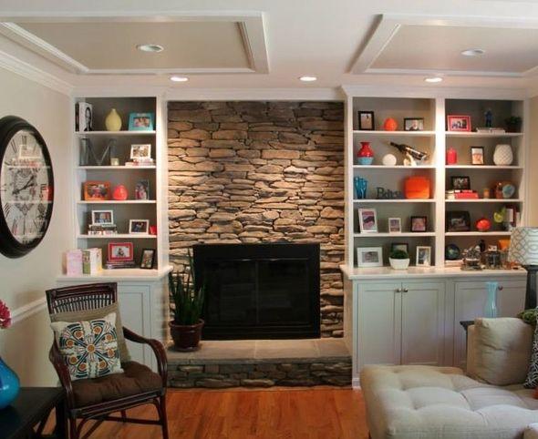 Gallery For Stone Fireplace With Built Ins And Tv Build It And They Will Come Pinterest