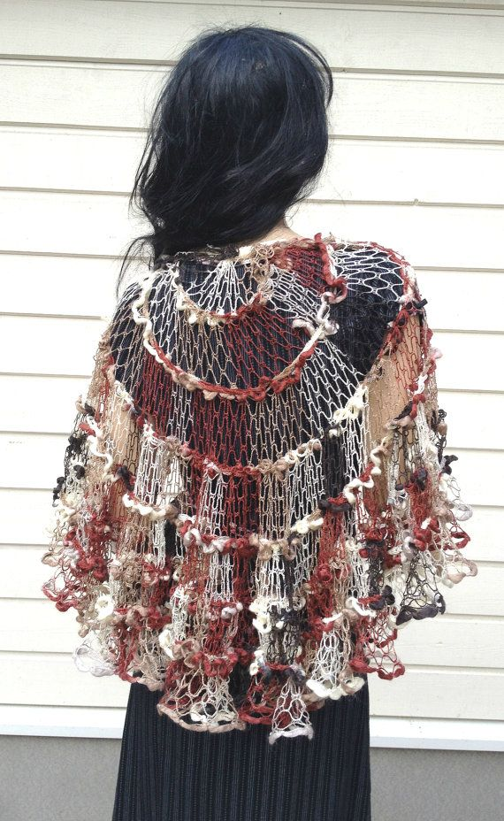Crochet Sashay Shawl, ruffle scarf, elegant wrap, multicolored ...