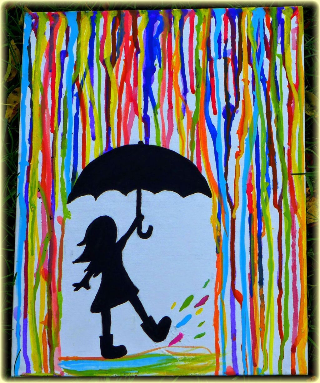 Simple painting ideas canvas girl under the rain for Watercolor ideas easy