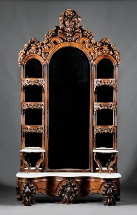 Carved, Laminated Rosewood Etagere, Attr. Belter