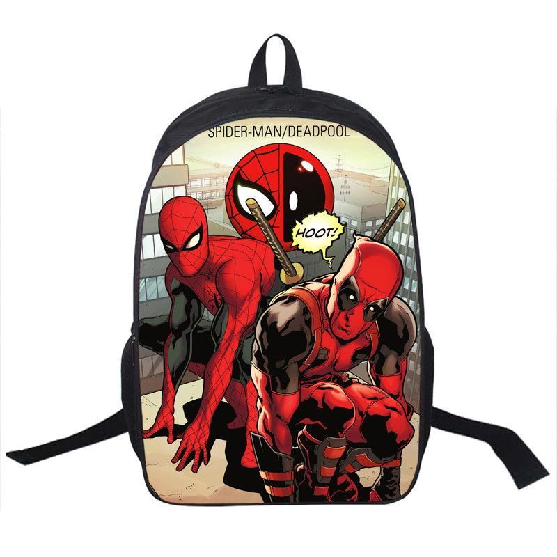 Spiderman meets Deadpool Backpack Bag school unisex guys girls ...