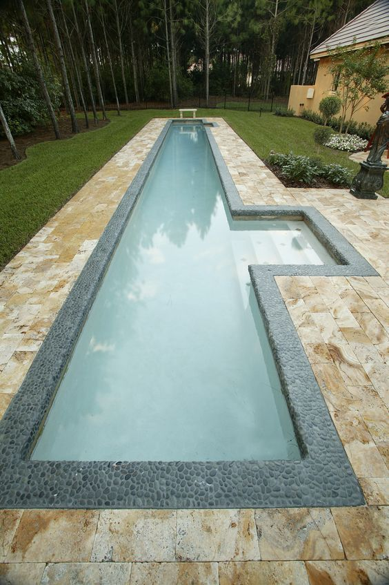 Narrow Pool With Steps Highlighted And Clad With Pebbles For A Natural Feel  | Pools | Pinterest | Wasserspiele, Schwimmteich Und Schwimmbäder