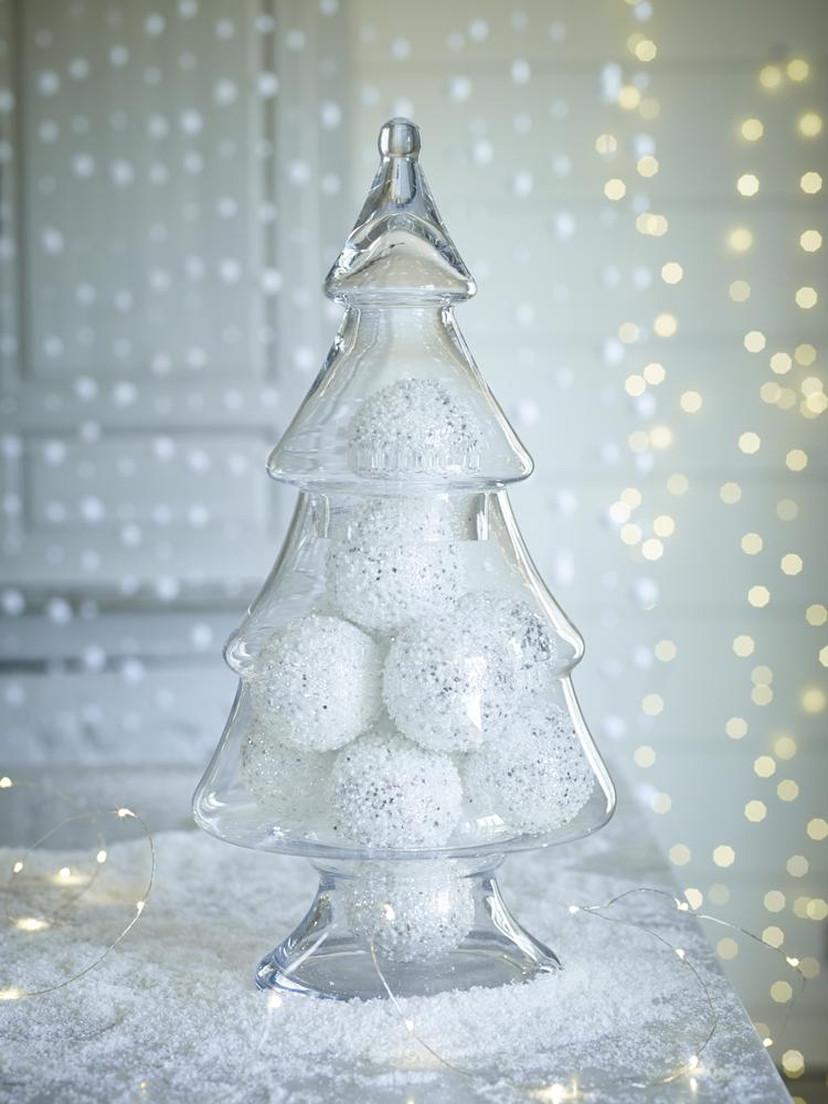 Christmas tree shaped display jar made of glass