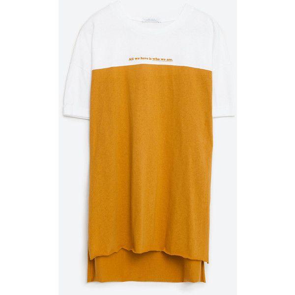 Zara Color Block T-Shirt (42 BRL) via Polyvore featuring tops, t-shirts, yellow t shirt, block tops, color-block tee, block t shirt e yellow top