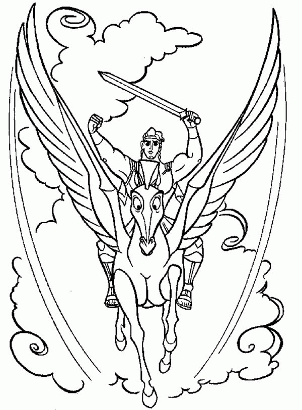 Hercules And Pegasus In Action Coloring Pages Bulk Color Free Coloring Pictures Monster Coloring Pages Cartoon Coloring Pages