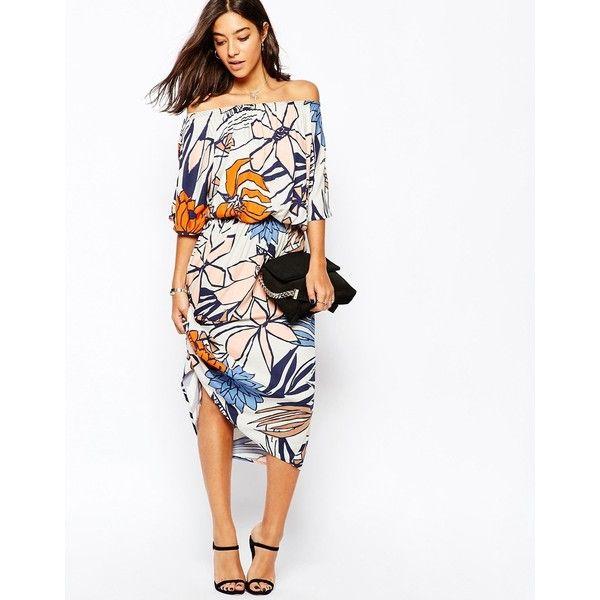 Sisley Midi Dress In 70's Floral (5.280 RUB) ❤ liked on Polyvore featuring dresses, white midi dress, white layered dress, flower pattern dress, mid calf dresses and print midi dress