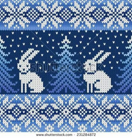 Wayuu Mochila pattern winter rabbit and snow flakes   yarn ...