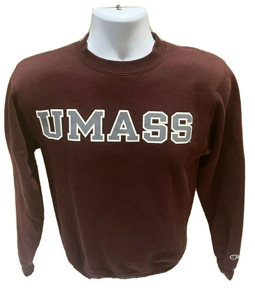 Umass Amherst Champion Eco Fleece Crewneck Sweatshirt Mens Xs Euc Ebay In 2021 Mens Sweatshirts Crew Neck Sweatshirt Sweatshirts [ 1000 x 872 Pixel ]