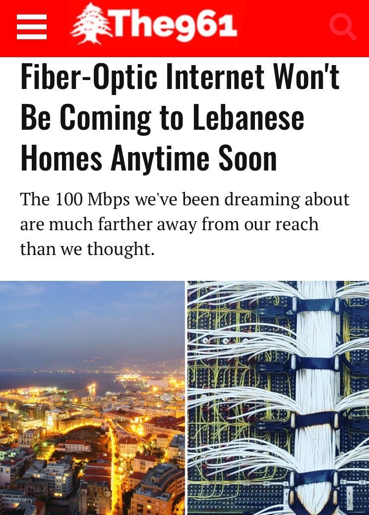 FiberOptic Won't Be Coming to Lebanese Homes