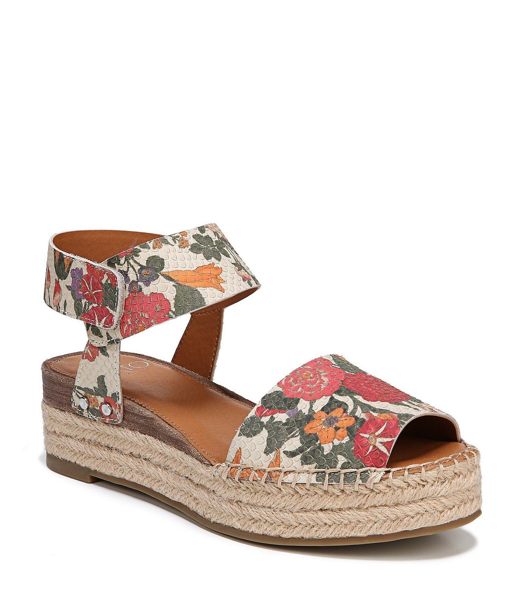 4dcfea256759e9 Sarto by Franco Sarto Oak Blossom Snake Embossed Ankle Strap Espadrille  Sandals  Dillards
