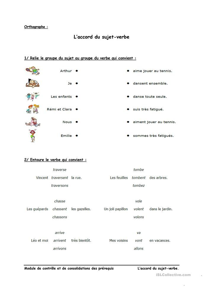 L'accord sujet-verbe   Exercice ce1, Exercices orthographe, Verbe