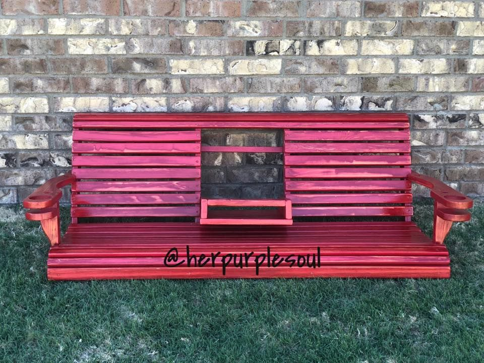 Red Distressed Hand Painted Porch Swing Diypaint Handpaintedfurniture Porch Swing Diy Painting Hand Painted Furniture