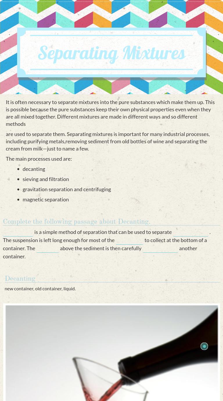 Separating Mixtures Worksheet Checks Worksheet