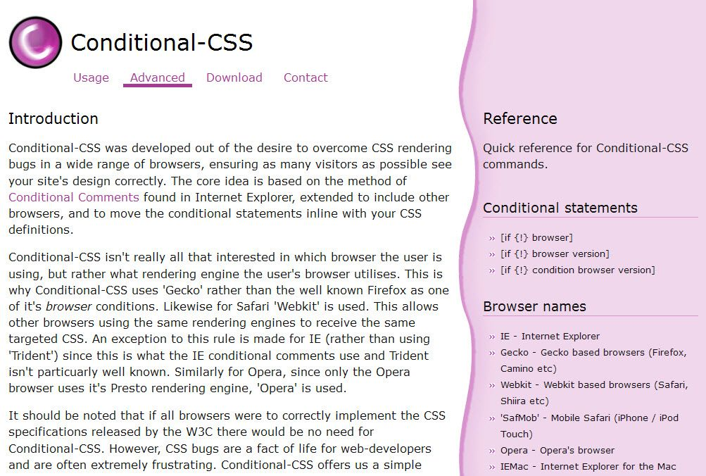 Advanced CSS Conditionals from conditional-css.com