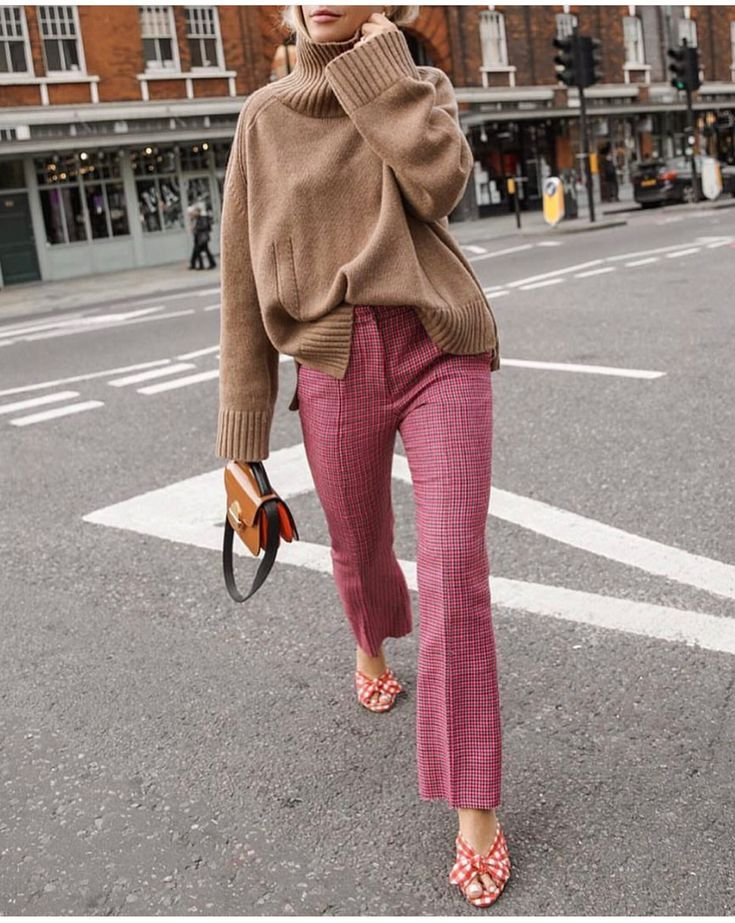 Photo of pink plaid trouser, printed slide, camel sweater. #fashion #streetstyle #pants #…