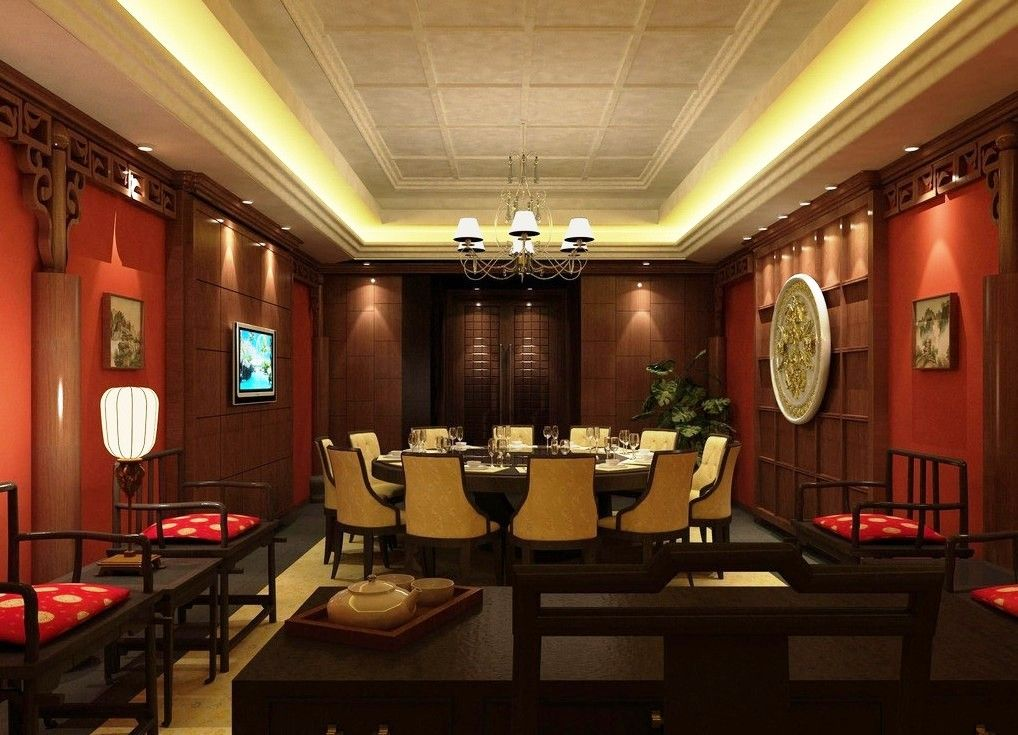Modern chinese restaurant interior design with red