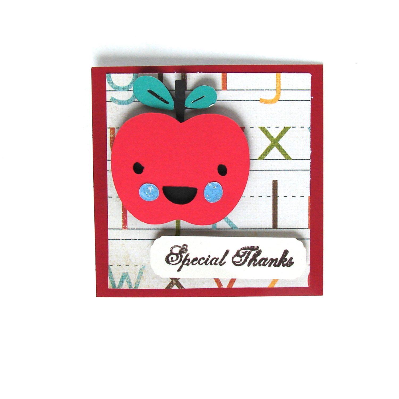 Thank You Card Apple Card Special Thanks Card Thank You Teacher