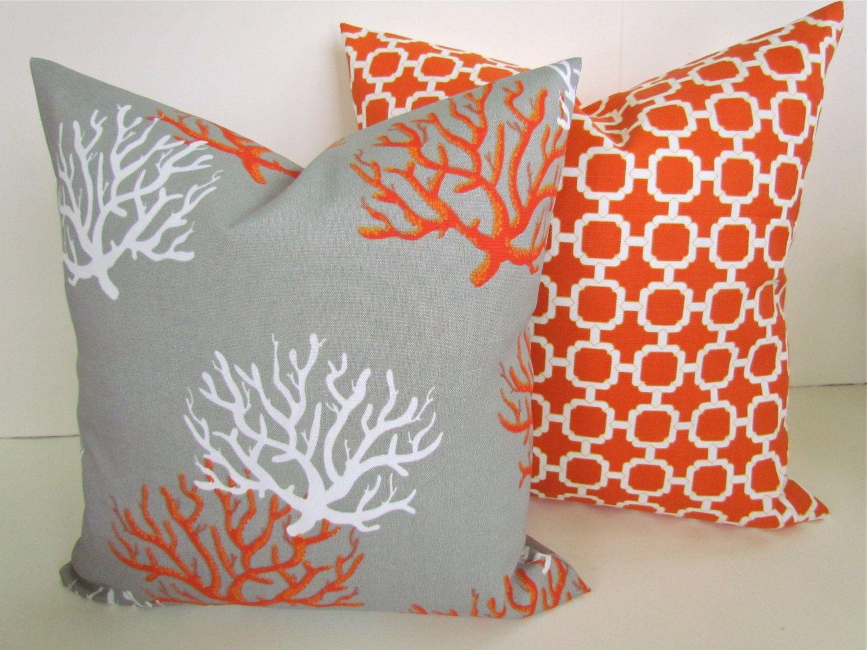 Throw Pillows Set Of 2 20x20 Grey Orange Coral Throw Pillow