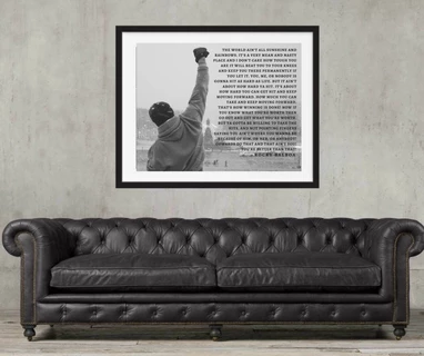 Rocky Balboa poster with inspirational quote framed or art print wall art #rockybalboaquotes