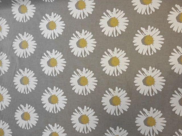 Clarke & clarke capri chartreuse yellow grey floral daisy retro ...