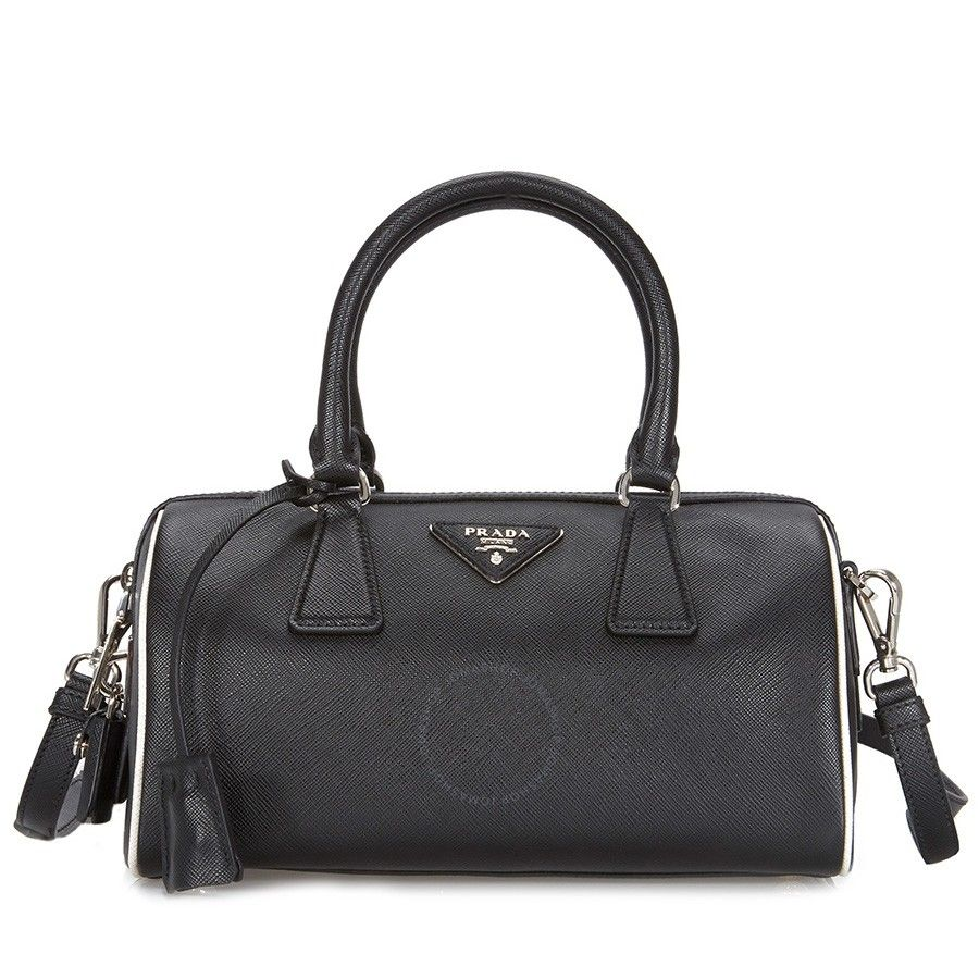 785fb4135421 Shop for Prada 2-Way Lux Saffiano Leather Shoulder Bag - Black / Talc by  Prada at JOMASHOP for only $1,075.00! WARRANTY or GUARANTEE available with  every ...