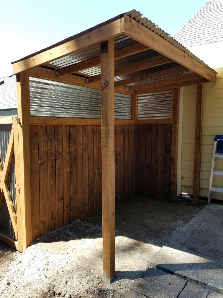 Covered Bbq Area And Privacy Fence He Built Backyard