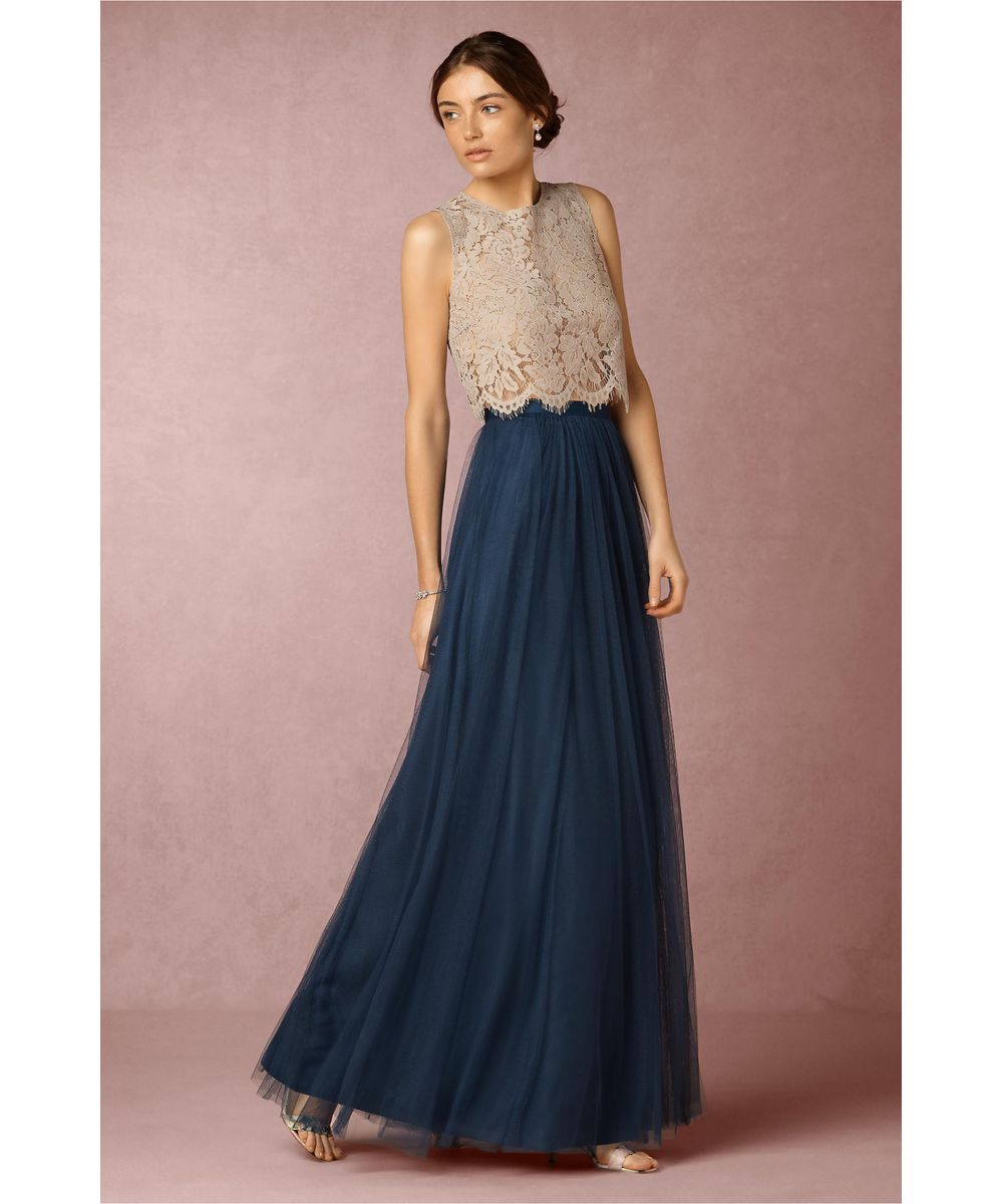 Lace top bridesmaid dresses long