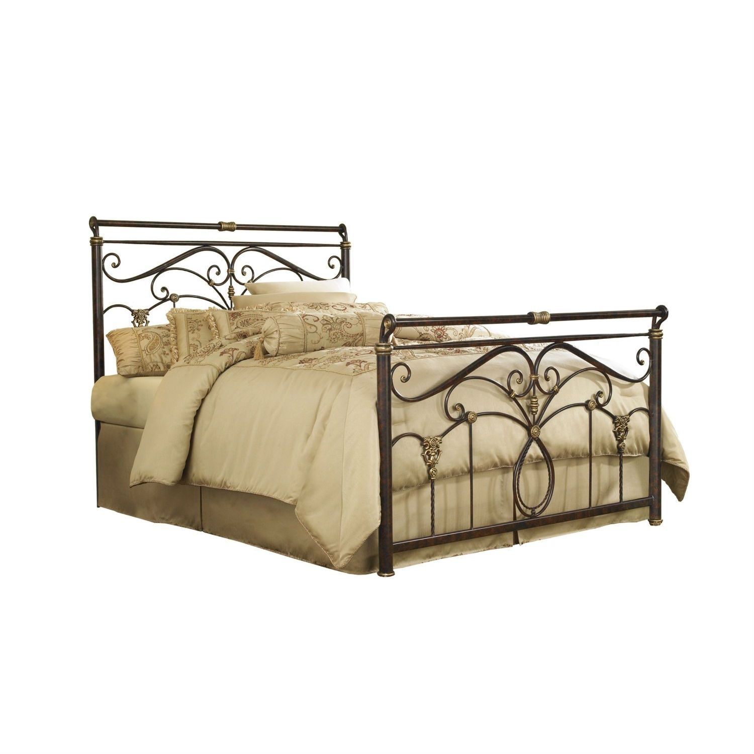 Best Queen Size Metal Sleigh Bed In Marbled Russet Finish Bed 400 x 300