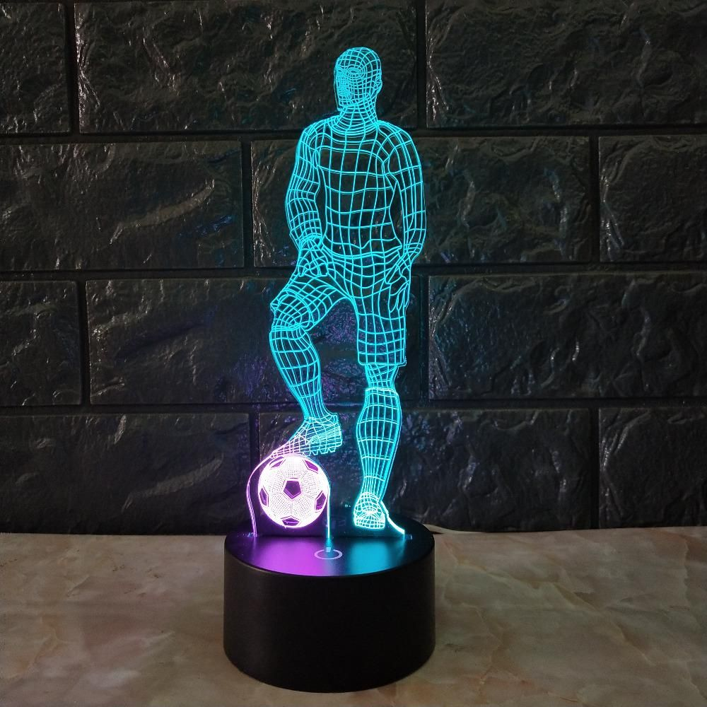 Football Soccer Player 3d Lamp Mixed Color Decor Lamp Led Home Night Light Football Sports Futbol Worldcup Livescore Touch Table Lamps Lamp Desk Lamp