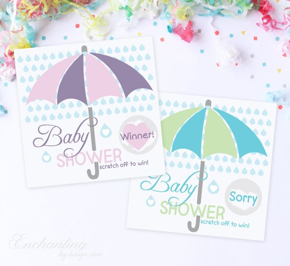 10 Pink Or Blue Umbreall Baby Shower Scratch Off Game Cards Baby