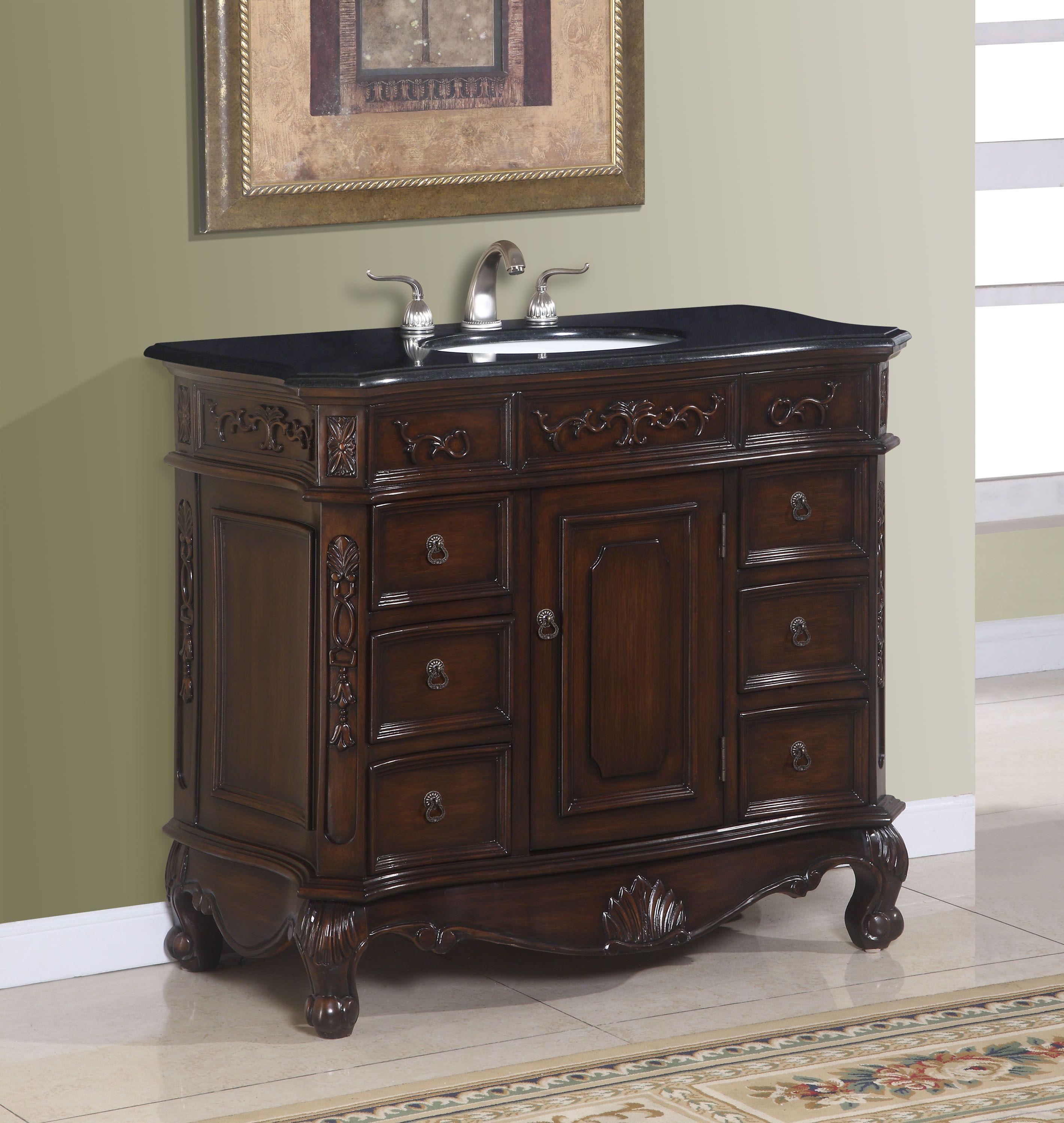 40 Inch Bath Vanity With Black Granite  Ica Furniture Products Amusing 40 Inch Bathroom Vanity Inspiration Design