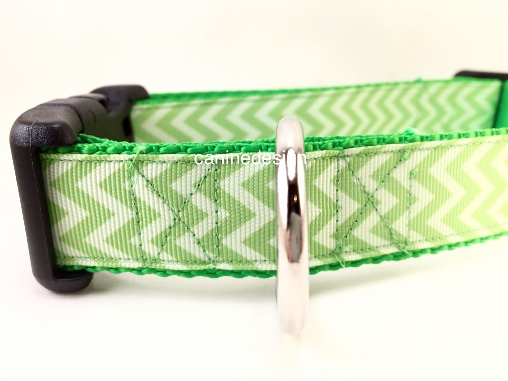 1 inch wide adjustable dog collar with green chevrons. Made with quality ribbon and heavy nylon. Handmade in Maryland