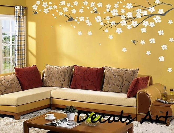 Cherry Blossom Branch with Birds - Vinyl wall sticker- wall decal ...