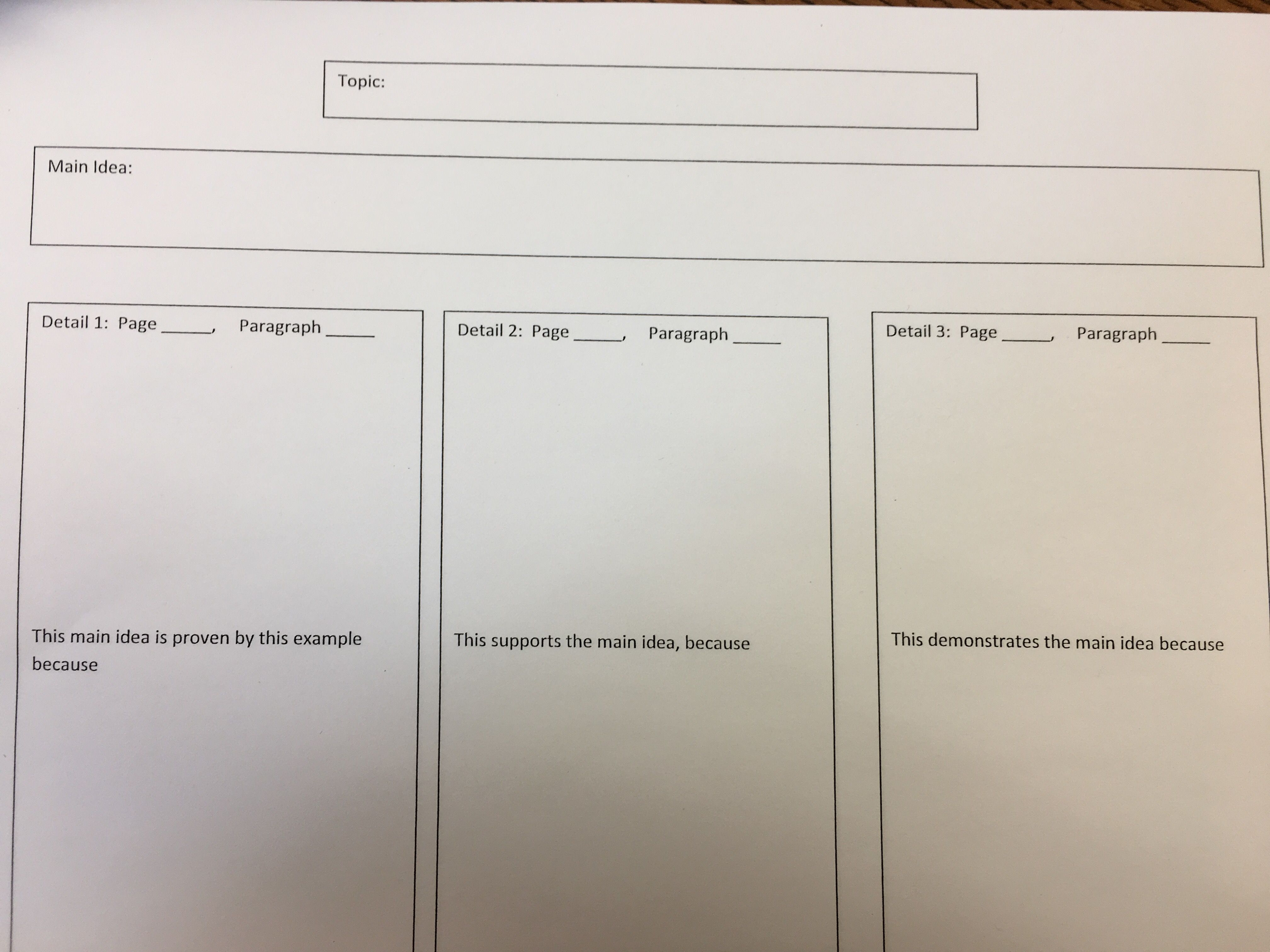 Main Idea Graphic Organizer With Explanation Sentence