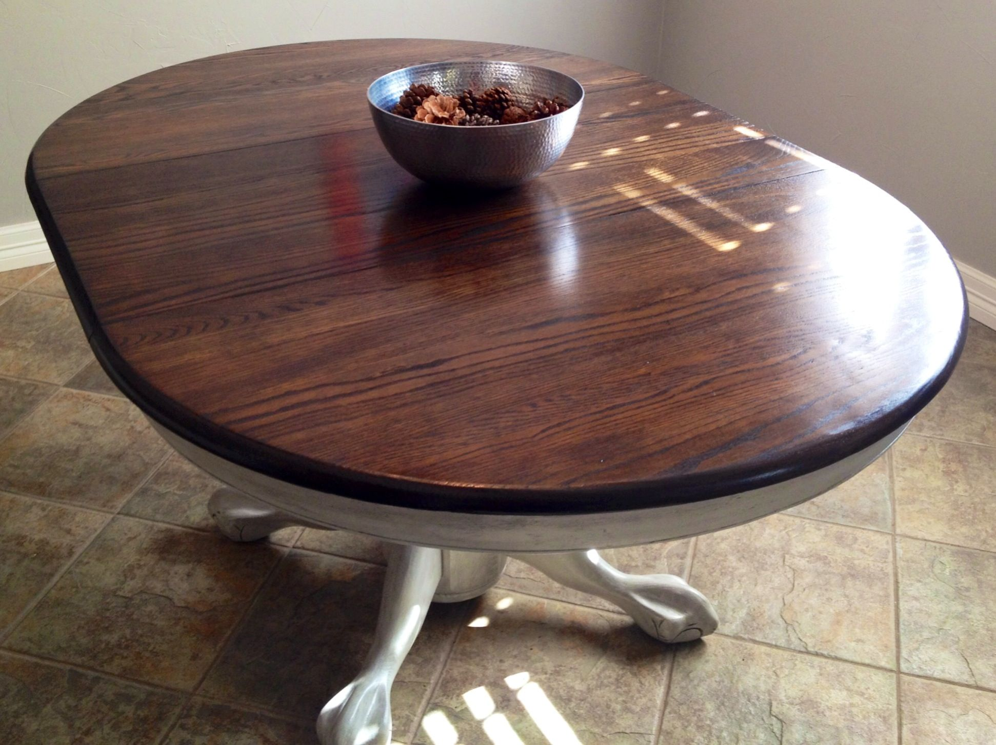 refinish kitchen table Antique claw foot pedestal table refinished in white paint on the base and glazed with Martha Stuart black coffee Top stained dark walnut