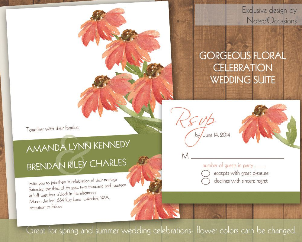 Sunflower Wedding Invitations with Coral by NotedOccasions