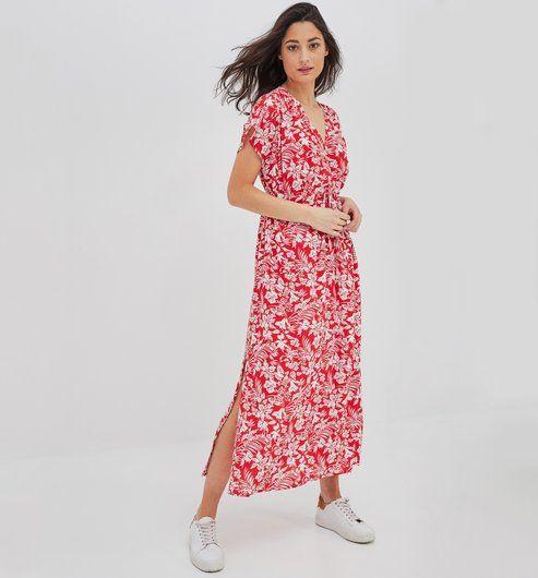 93528175478f7 Robe longue ELEONOR - Imprimé rouge - Robes - Femme - Promod ...