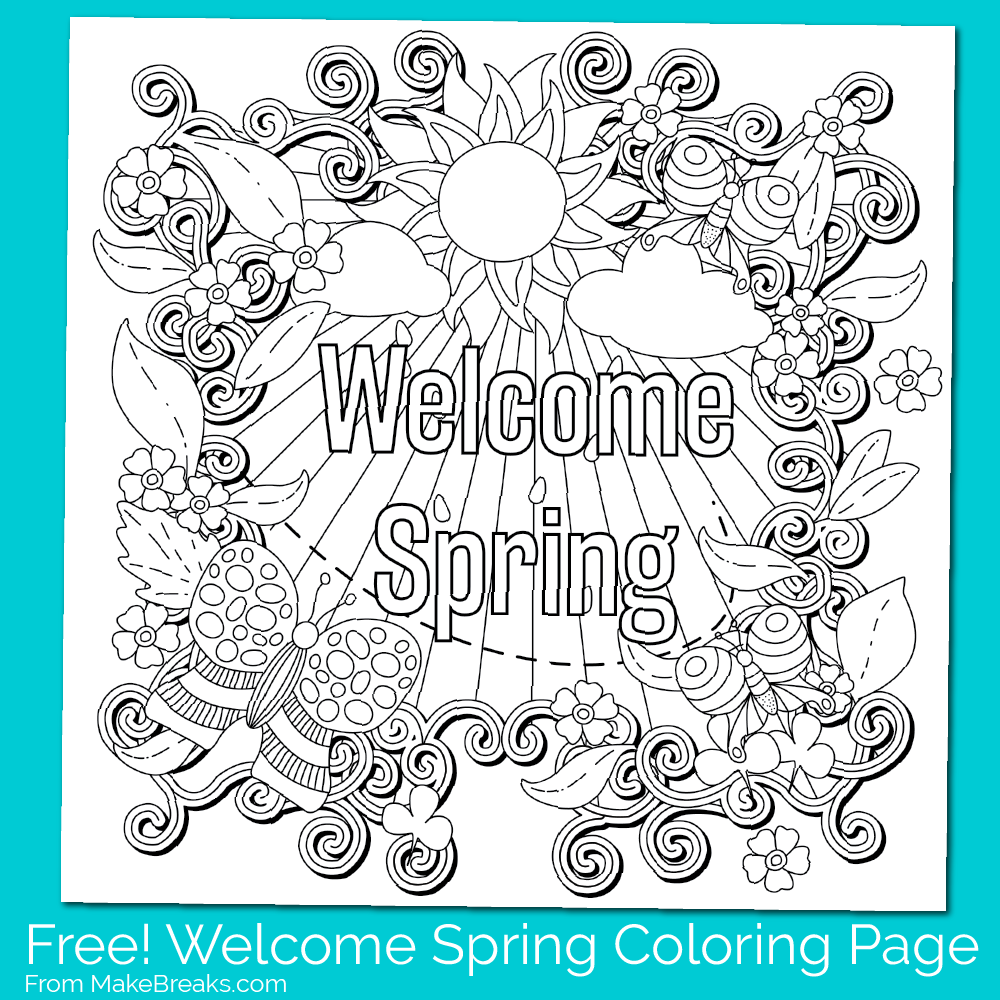 Spring coloring pages pinterest - Free Printable Welcome Spring Coloring Page